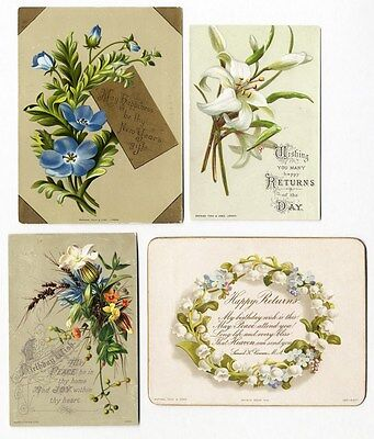 RAPHAEL TUCK Birthday Greetings - 4 cards from 1880's Floral Lily of Valley