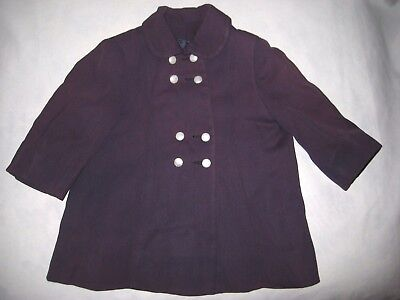 VINTAGE 1960s GIRLS PLUM PURPLE COAT-WHITE BUTTONS-PRINCESS ANN FASHIONS-SMALL