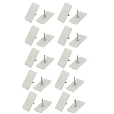 24mmx12mmx3.5mm Rectangle Furniture Foot Protector Pad Glide Nails White 20pcs