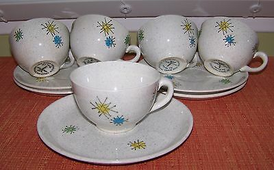 Mid Century Modern ATOMIC Hand Painted LES ETOILES Faienceries Cup & Saucer VGC