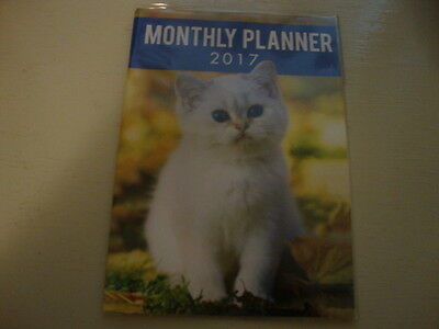 NEW 2017 Monthly Planner, White blue eyed kitten on front and back.