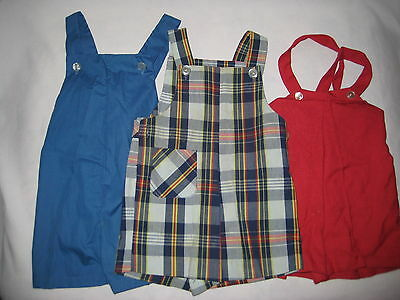 3 Pairs Vintage Toddler Boys Short Jumper Strap Pants-Plaid Healthtex-Blue-Red