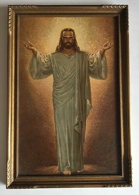 "vintage framed Lithograph of Sallman's ""His Presence"" numbered USA Jesus Christ"