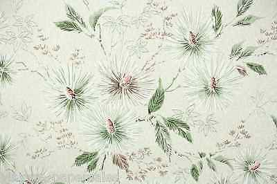 1950s Vintage Wallpaper Pine Needles and Leaves