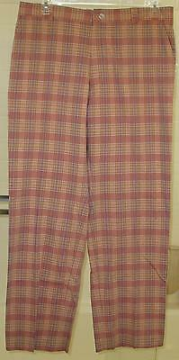 Elevee Golf men's 4 pocket flat front plaid golf/office/casual pants size 36x32