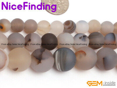Natural Round Frost Matte Botswana Agate Stone Beads Jewelry Making Strand 15""