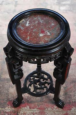 "Chinese Beautiful carved 33"" wood Pedistal w/Marble top"