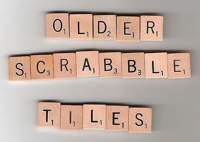 Scrabble board game pieces - complete set of 100 wood tiles - vintage style