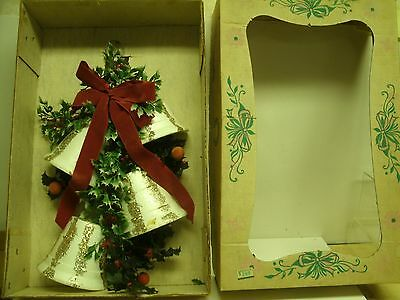 "Vintage 17"" Styrofoam Bells Holly  CHRISTMAS WREATH wall decor w/ box"