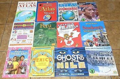 World Countries Geography Atlas Social Studies History LOT OF 30 Childrens Books