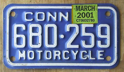 CONNECTICUT MOTORCYCLE license plate   2001  680-259