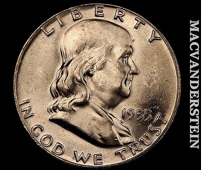 1955 Franklin Half- Choice Gem Brilliant Unc!! Full Bell !! #m7883