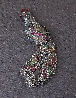 Vintage Large Hand Embroidery Sequins & Beads Peacock Pin