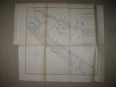 Rare Early Antique 1855 St Andrews Bay Florida Map Panama City Bay County Fine