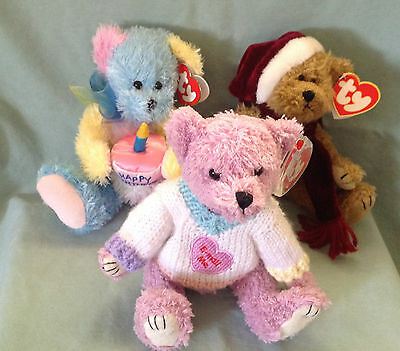 3 Ty Attic Treasures Bears Christmas Jangle Lancaster Birthday Surprise Nwt