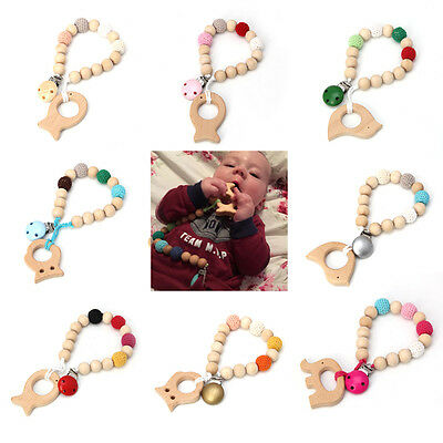 Infant Baby Wood Round Pacifier Clip Pendant Nature Wooden Teething Chewable Toy