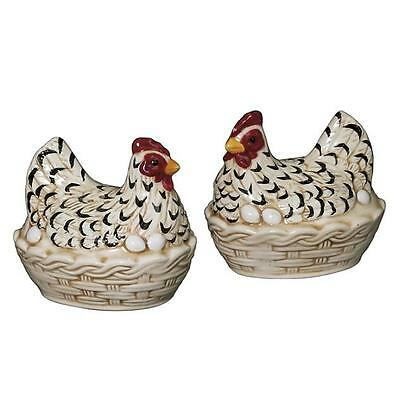 Andrea by Sadek Black White Chicken w Eggs Basket Salt Pepper 61406 Jay Willfred