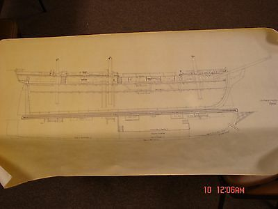 Vintage Ship Boat Blueprint Plan Nautical Art Print 1799 Essex Frigate Profile