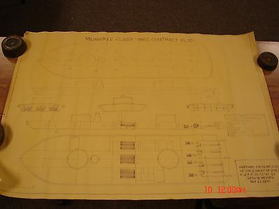Vintage Ship Boat Blueprint Plan Nautical Art Print Uss Milwaukee Class 1862