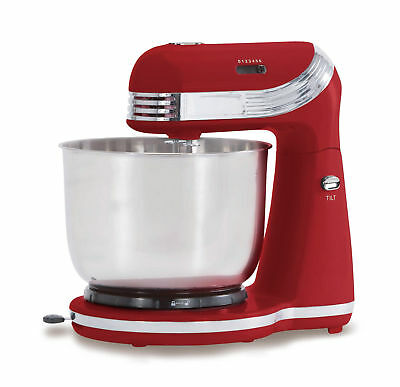 250W 6 SPEED ELECTRIC STAND MIXER w/ STAINLESS STEEL BOWL RETRO RED XJ-13406