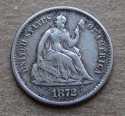 1872-S Liberty Seated Half Dime - Mint-Mark Below Wreath, Better Date, VF