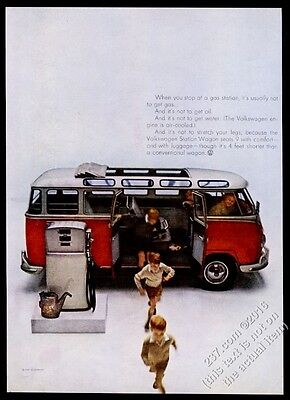 1960 VW Bus Volkswagen Microbus photo at gas pump vintage print ad
