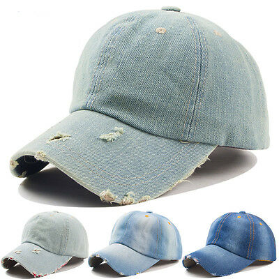 Washed Solid Blue Jean Plain Denim Dad Baseball Ball Hat Cap Curved Adjustable