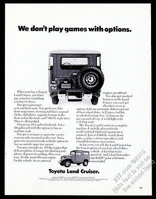 1971 Toyota Land Cruiser SUV 2 photo We Don't Play Games With Options vintage ad
