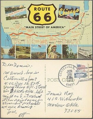 Vintage 1972 Postcard Route 66 Chicago to Los Angeles Highway Notes 743054