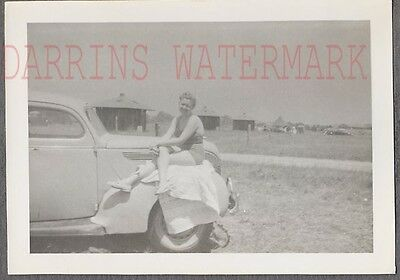 Vintage Car Photo Woman in Swimsuit on 1938 Ford Deluxe Automobile 743193