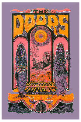 The Doors at Sacramento Psychedelic  Concert Poster 1970  2nd Printing