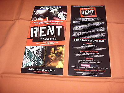 RENT THE MUSICAL - Original 2016 West End Flyer -  *NEW*