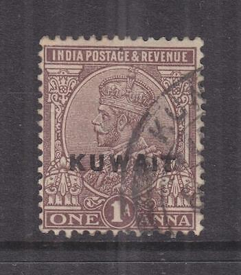 KUWAIT, 1923 on India, KGV, Large Star, 1a. Chocolate, used.