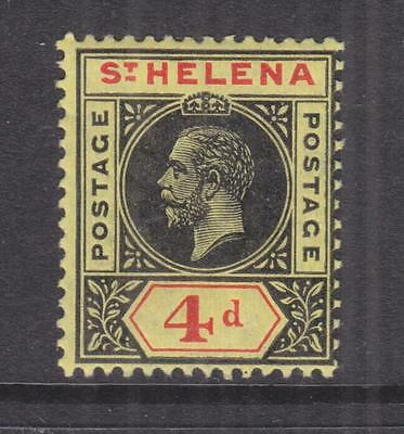 St. HELENA, 1913 KGV 4d. Black & Red on Yellow, lhm.