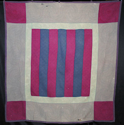 "1890 SIMPLE BARS PENNSYLVANIA AMISH QUILT BOLD GEOMETRIC 73"" x 69"" QUILTED"