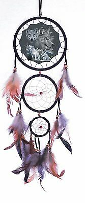"New 20"" Long Wolf Pack Wolves Dream Catcher Wall Hang Decor Feathers Beads Gift"