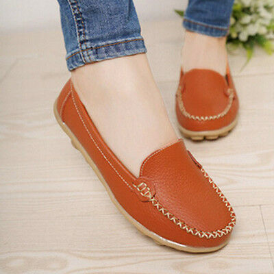 2016 Women Casual Leather Slip on Loafers Moccasin Flats Boat Oxfords Shoes S3