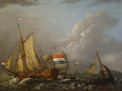 Fine 17th 18th Century Dutch Old Master Shipping Navy Marine Oil Painting