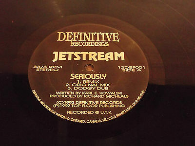 JETSTREAM : SERIOUSLY ( 6 MIXES ) : Definitive Recordings : 12DEFOO 1