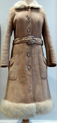 Vintage 1970s Suede Penny Lane Almost Famous Belted Sheepskin Shearling Coat, 8
