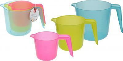 Set Of 3 Colourful Plastic Cooks Litre Ml Measuring Jug Jugs for Cooking Baking