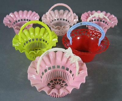 Retro/vintage 60s harlequin toy/childs party plastic lolly baskets x 6