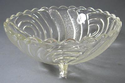Vintage 50s art deco depression glass sweets/fruit bowl- swirls/tripod feet