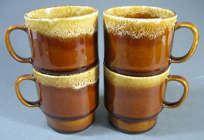 Retro/vintage 70s pottery/china brown Coffee Mug set x 4 -ceramic