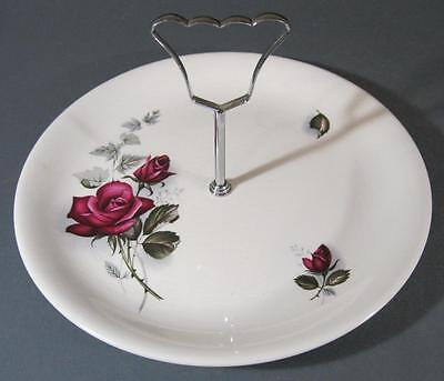 Shabby vintage British Anchor china cake plate-deep red roses England