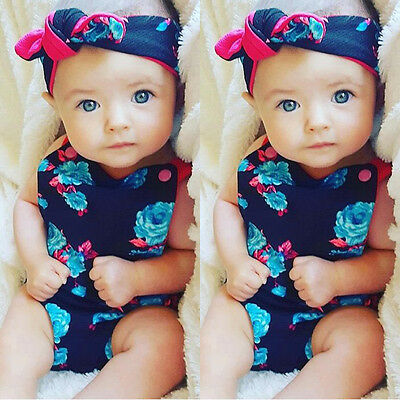 Newborn Baby Girls Boys Romper Jumpsuit Bodysuit+ Headband Clothes Outfits