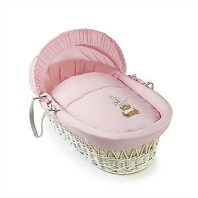 Clair De Lune Tippy Tumble White Wicker Moses Basket (pink)
