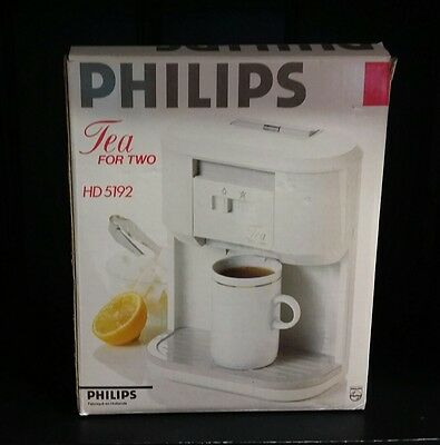 Philips 2-Cup Tea For Two Tea Maker 2 White Ceramic Mugs HD5192 never used boxed