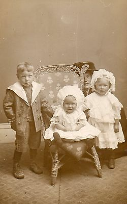 Pretty Children,Boy,Girl,& Baby (with Mum).Photographic Postcard,SEE SCAN