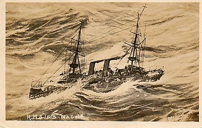 H.M.S. Isis in a Gale,Photographic Postcard,See Scans